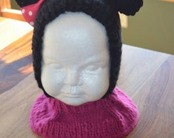 Child Knitted Minnie Mouse Hat, Coverall- Made to Order