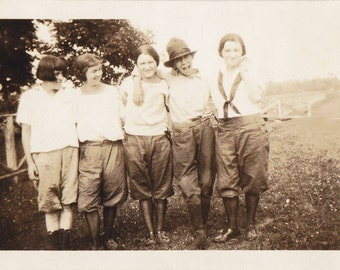 The Wisecracker- 1920s Antique Photograph- Hiking Girls- Best Friends- Friendship- Bobbed Hair- Funny Found Photo- Vernacular Paper Ephemera