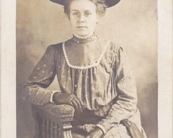 Easter Bonnet- 1900s Antique Photograph- Edwardian Beauty- Beautiful Woman- Spring Fashion- Real Photo Postcard- RPPC- Paper Ephemera