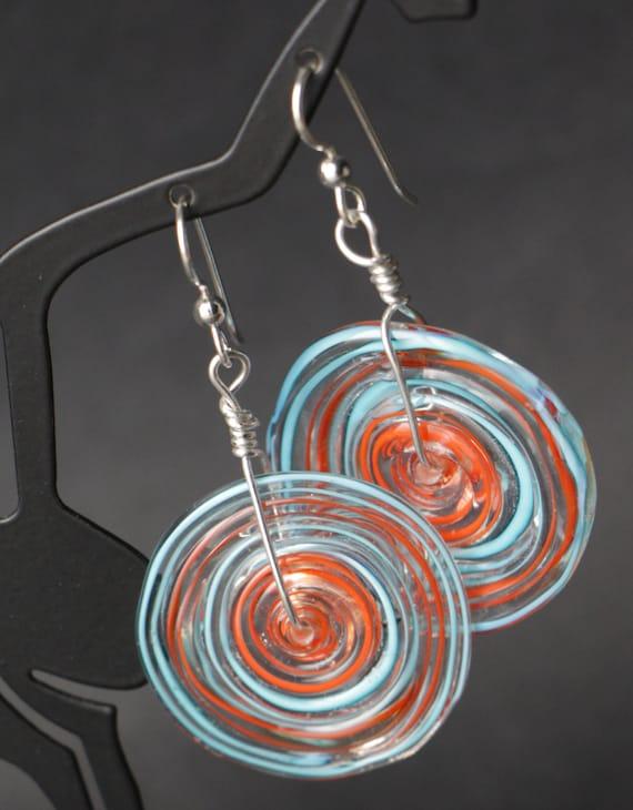 Bullseye Orange Turquoise Disc Lampworking Beaded Sterling Silver Earrings