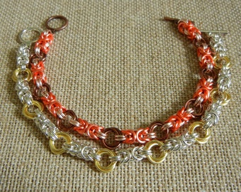 Byzantine Rose / Hugs & Kisses Chainmaille Bracelet