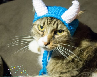 Cuddle Monster Crochet Hat for your Pet, Ready To Ship, Costume for Cats, Small Dogs, Kittens, Blue, Crochet Horned Hat, Alien Dog Hat