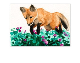 Red Fox and Clover Art Print of Watercolor Wildlife Painting