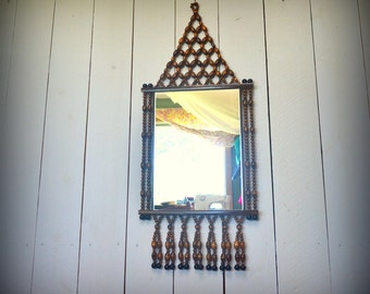 Hanging Wall Mirror 1970s Vintage Wooden Beaded Fringe Hippie Boho Decor Wall Mirror