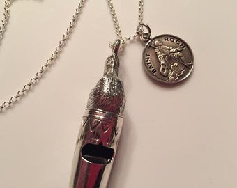 Patron Saint ROCH Sterling Religious Medal & Dog Whistle Pendant on 18 inch sterling rolo chain