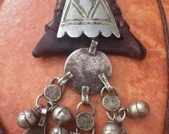 Rare Berber leather Amulet with metal & Silver decoration with tiny Khomeissa s