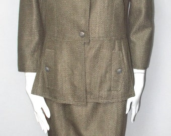 Vintage Carlisle suit skirt 8 Misses lined jacket 10 Olive green textured fabric Executive Professional career outfit Viscose Cotton Medium
