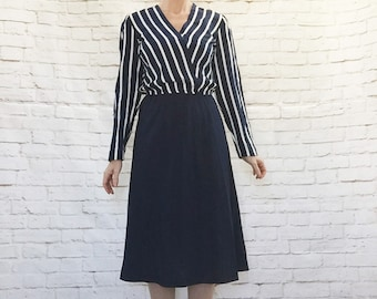 Vintage 80s Navy Striped Top-Attached Dress Knee Length Long Sleeve M L