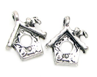 Silver Charms : 10 Antique Silver Birdhouse Charms | Silver Bird House Pendants -- Lead & Cadmium Free Jewelry Findings J1L