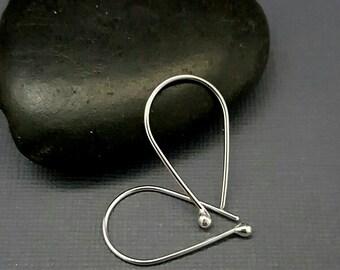 SILVER MODERN EARRINGS, Argentium silver earrings, Minimalist hoops, Teardrop Earrings, Simple hoops, Wire Earrings, Silver hoop, reclaimed