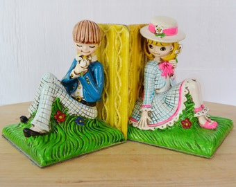Vintage Bookends of Children with Daisies by Earl Bernard
