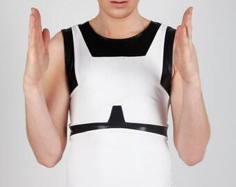 Men's Stormtrooper Tank Top, Star Wars Cosplay Clothing, Black & White Spandex Menswear, Sci Fi Club Wear, by LENA QUIST