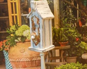 Vintage White Birdhouse for Dollhouse Miniature