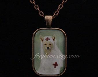 Fox Necklace, Red Cross Nurse, Petite Pendant, Nurse Gift, Unusual Jewelry