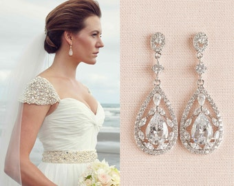 Bridal Earrings, Vintage style Pearl Swarovski Crystal wedding earrings Rhinestone Bridesmaids, Adison Bridal Earrings