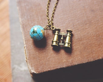 let's see the world. a vintage travel-inspired one of a kind necklace.