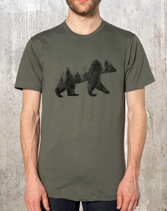 Men's Bear T-Shirt - Bear and Forest Double Exposure Photograph - Men's American Apparel T-Shirt - Men's Small Through 2XL Available