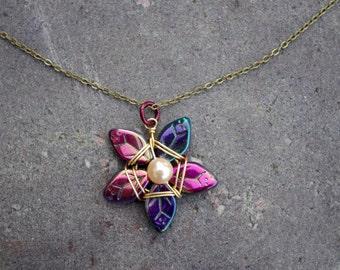 Vibrant Purples Flower Necklace