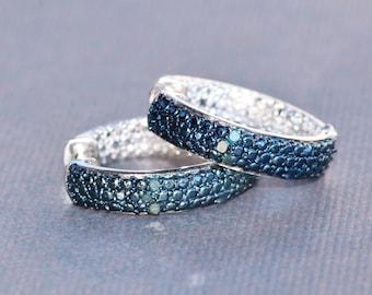 Genuine Blue Diamond Pave Hoop Earring,Crystal Clear CZ Gemstone Hoop,Sterling Silver,Blue Diamond Earring,Birthstone,Navy Sapphire Blue