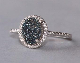 Genuine Navy Blue Sapphire Druzy,Sterling Silver Druzy Quartz Metallic Gemstone Ring,Womens Ring,Paved,Pave,OOAK Druzy Geode,Crystal,Gift