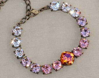 Astral Pink Rainbow Ombre Tennis Bracelet,Swarovski Rhinestone Crystal Tennis Bracelet,Dusky Blush Pink,Light Silk,Cushion Bracelet,Womens
