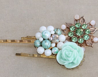 Vintage Mint Green Jeweled Bridal Bobby Pins,Set of THREE,Gold Mint Pearl Rhinestone Hair Pins,Upcycled Repurposed Earrings Brooches,Trio