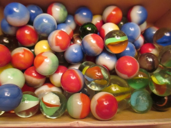 Glass Marbles Game : Glass marbles vintage large lot of old multicolored swirled