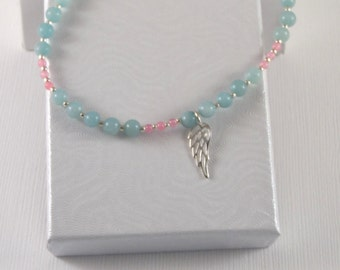 7.25 Inch Sterling Silver Gemstone Bracelet - Amazonite and Pink Morganite - Angel Wing - High Quality Jewelry For Her - Tiny Bead