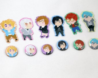 Mystic Messenger 6 Characters Stickers and Button Pins