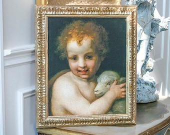 Beautiful St. John the Baptist with The Lamb, Art Print on Canvas, Vintage Frame
