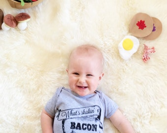 What's Shakin Bacon - Funny Screen Print Baby Onesie Bodysuit - Heather Grey