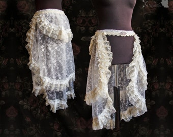 Tule lace skirt, Victorian, bustle, burlesque, Steampunk wedding, Maeror, Somnia Romantica, size small, see item details for measurements