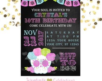 Sugar Skull Invitation, Chalkboard Invitation,  Printed Invitation, Baby Shower Invite, Halloween Invite, Day of the Dead, Birthday Invite