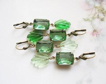 Emerald Green Vintage Rhinestone Earrings / Green Garden Assemblage Earrings / May Birthstone / Botanical Glamour