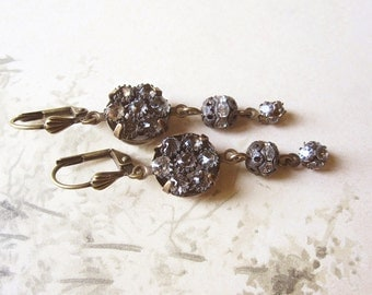 Antique Button Assemblage Earrings / Sparkly Vintage Rhinestone Earrings