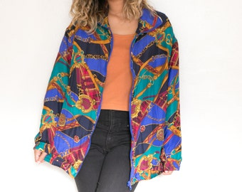 Vintage Silk Bomber Jacket / 90s Baroque Jacket / Silk Jacket / Vintage Windbreaker Oversize Gold Chain Royalty Hip Hop Unisex Grunge Zip Up