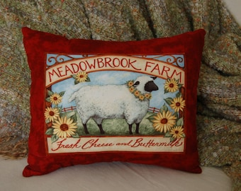 Sheep Pillow/ Meadowbrook Farm/ Sheep Decor/ Farm Pillows/ Sheep Farm Decor/ Sheep with Flowers