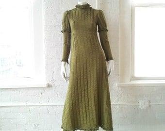 1960s Olive Cotton Prom Dress 60s Vintage Small 1970s Boho Chic Festival Dress Rustic Wedding 70s Maxi Dress Renaissance Princess Ball Gown