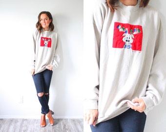 Vintage ugly reindeer christmas sweatshirt // christmas sweatshirt // classic reindeer sweater // ugly christmas party jumper large