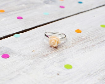 Peach Rose Ring | Pale Pastel Pink Flower Ring | Adjustable