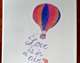 Love is in the Air Fox in Hot Air Balloon 8x11 Canvas