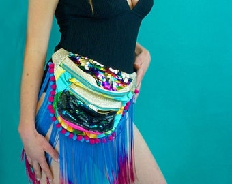 KELLY Gold leather, fringing, pompom, bumbag / fannypack. metal ykk zips. Bananas sequins carnival burning man extravaganza!