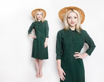 Vintage 1950s Dress - Green Plaid Cotton Shirt Front Day Dress 50s - Small