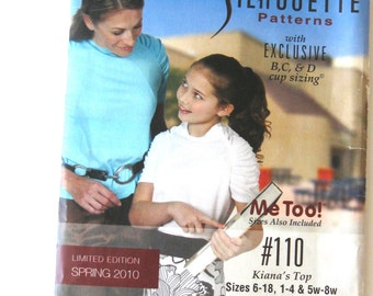 2010 Top Pattern Silhouettes 110 Womens Pullover Stretch Knit Top Sewing Pattern Raglan Sleeves Ruched Sleeves, All Sizes B C D Cup UNCUT