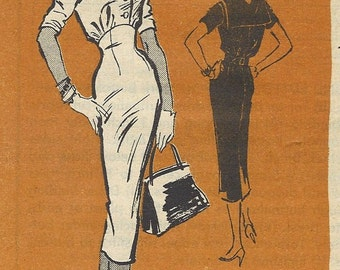 1950s Antonelli - Kleibacker Womens Wiggle Dress with Middy Collar Prominent Designer Sewing Pattern A516 Size 10 Bust 31 UnCut