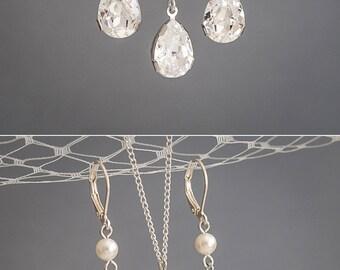 Bridal Jewelry SET, Swarovski Crystal and Pearl Wedding Jewelry Set, Sterling Silver Pendant Necklace, Teardrop Dangle Earrings, PHILBERTA