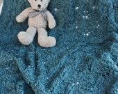 Dark Teal Hand Knit Baby Blanket / Afghan