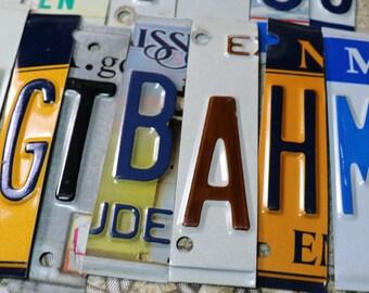4 Vintage License Plate Letters