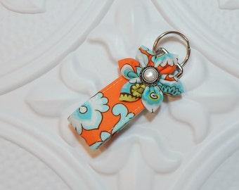 Mini Key Fob - Keychain - Key Fob Key Chain - Cute Key Fob - Teacher Gift -  Orange And Blue Print