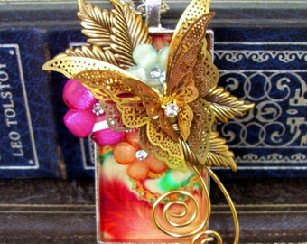 Butterfly and Flowers Pendant (N522) - Fractal Graphic under Resin - Shiny Brass Butterfly - Resin Florals - Crystals - Brass Wire